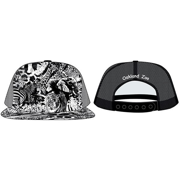 YOUTH CAP B&W ZOO PATTERN