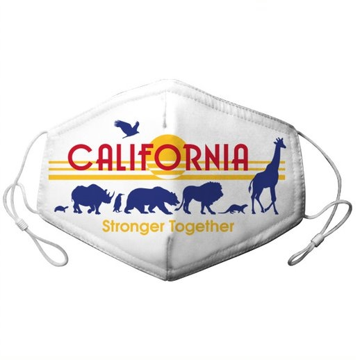 ADULT ADJUSTABLE CALIFORNIA LICENSE PLATE WITH ZOO PARADE MASK